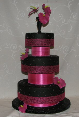 modern black wedding cake